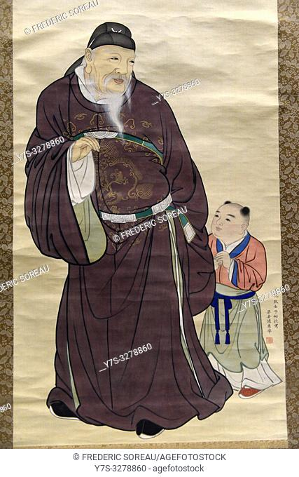 Guo Ziyi with a child by Maruyama Okyo (1733-95), color on silk,Edo period, dated 1792,Tokyo National Museum,Tokyo,Honshu,Japan,Asia