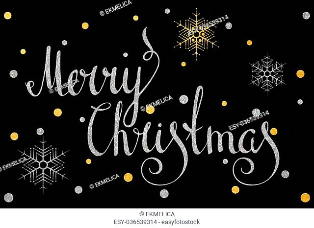 Silver textured handwritten calligraphic inscription Merry Christmas with gold and silver confetti and snowflake. Design element for banner, card