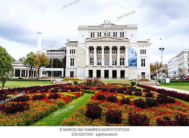 Latvian National Opera House view from Bastion Hill park. Riga, Latvia, Baltic states, Europe