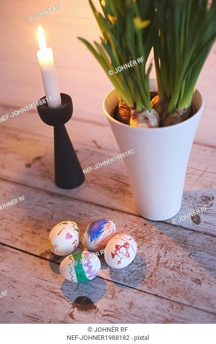 Candle and Easter decoration