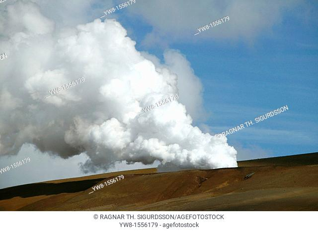 Steam from borehole at Krafla Geothermal Power Station, Iceland