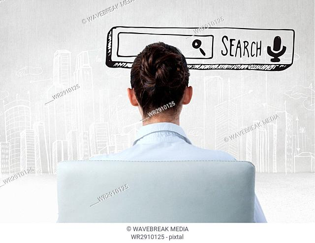 Search Bar with woman seated