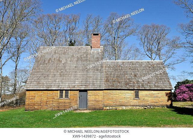 Historic Aptucxet trading post built by the Pilgrims for trading with the Wampanoag indians and the Dutch  It was the first private commercial enterprise in...