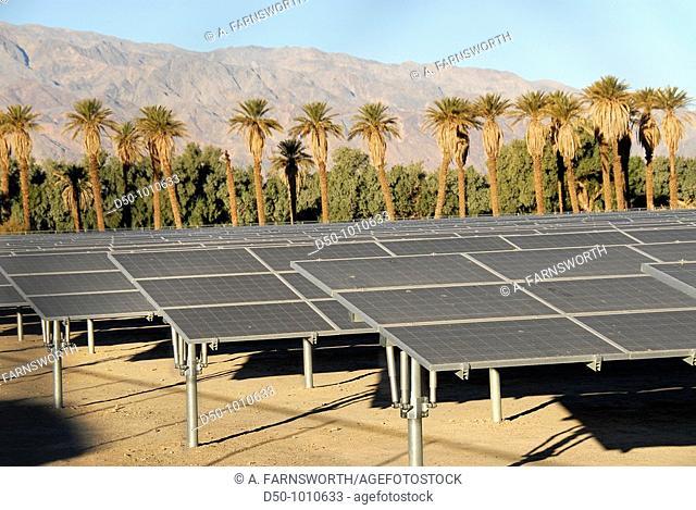 Solar panels, Furnace Creek Hotel, Death Valley National Park, California, USA