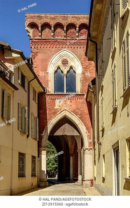 view of western entrance portal in Renaissance castle of small town, shot in a bright summer day at Vigevano, Pavia, Lombardy, Italy