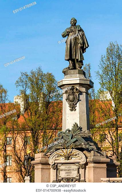 Warsaw, capital city of Poland. Monument of Adam Mickiewicz, the most famous Polish poet