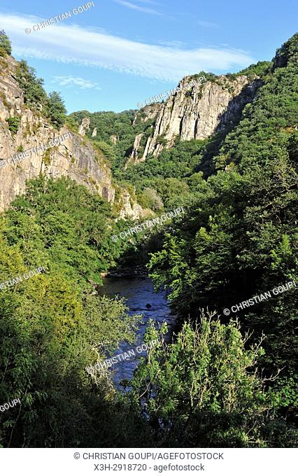 Gorge of the Sioule River near Chouvigny, Puy-de-Dome department, Auvergne-Rhone-Alpes region, France, Europe