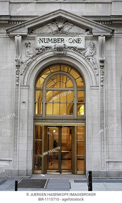 Schriftzug, Number One, above the entrance of a building in the city of New York, USA