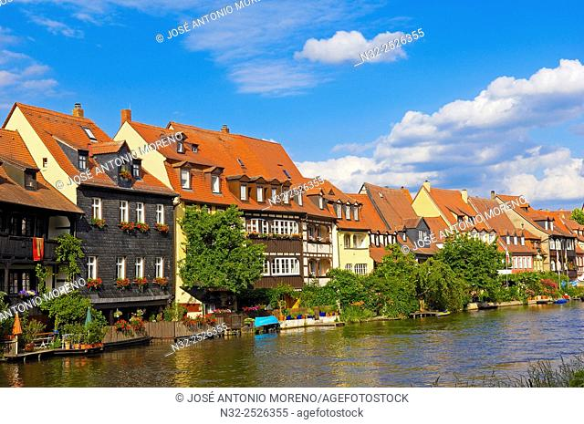 Bamberg, Little Venice, Regnitz river, Old fishermen's houses, UNESCO World Heritage site, Franconia, Bavaria, Germany, Europe