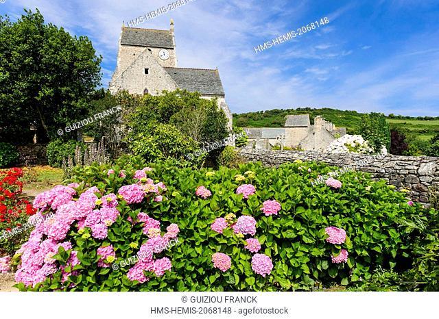 France, Manche, Cotentin, Cap de la Hague, Omonville la Rogue, 13th century Gothic Saint Jean Baptiste church