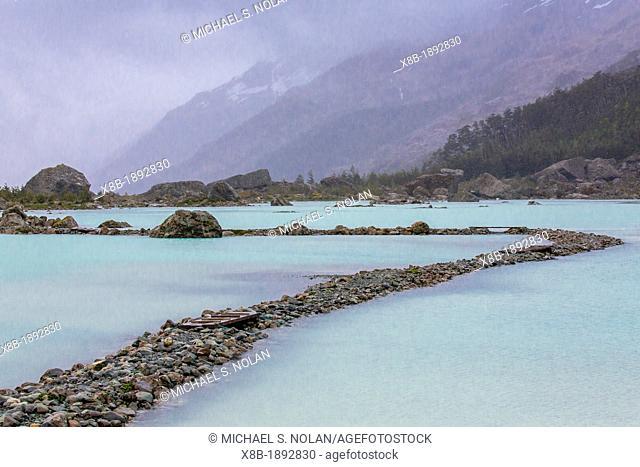 Rocky path to the Bernal Glacier in Estero Las Montanas, Strait of Magellan, Patagonia, Chile