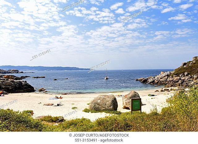 Landscape of Udra Cape and Ancoradouro beach, Pontevedra province, Galicia, Spain