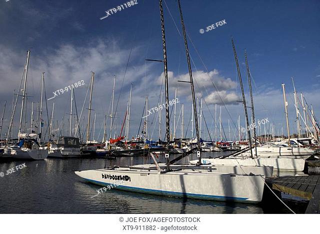 yachts and boats in bangor marina county down northern ireland uk
