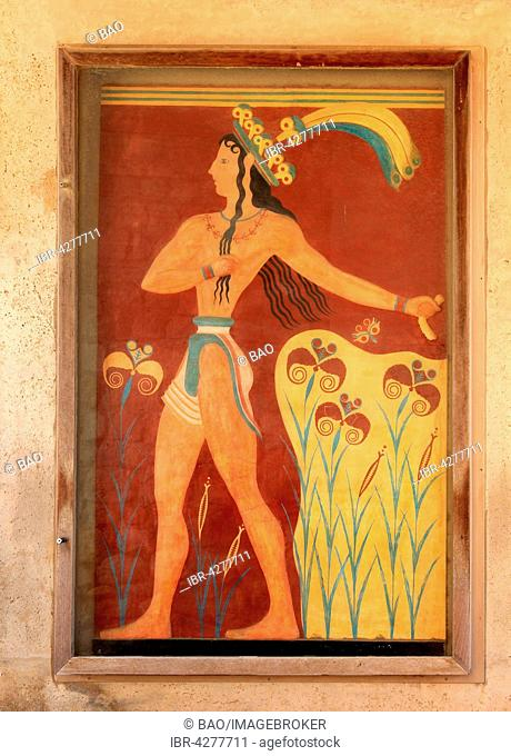 Mural, Palace of the Minoans, Knossos, Crete, Greece