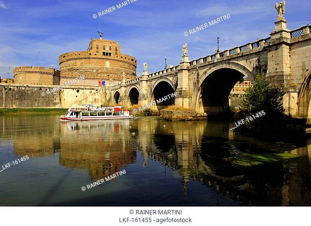 Castel Sant'Angelo and Ponte Sant'Angelo, Mausoleum for Emperor Hadrian, Rome, Italy