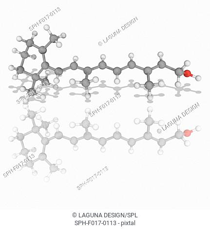 Retinol. Molecular model of the diterpenoid alcohol retinol (C20.H30.O), one of the forms of vitamin A. This chemical, when converted to the retinal form