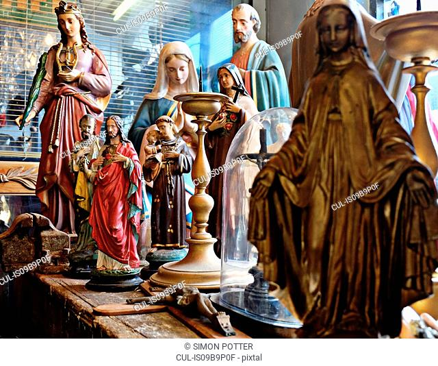 Religious figures displayed on table