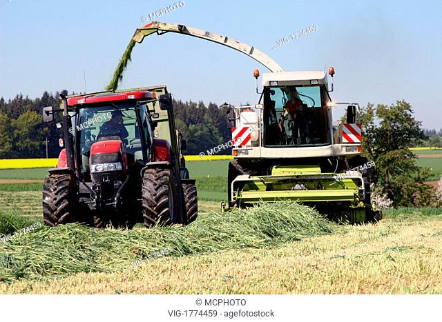 Farmers at production of grass silage on a field - 31/07/2009