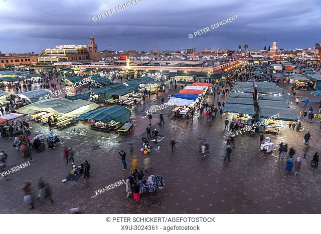 Jemaa el-Fnaa place at dusk, Marrakesh, Kingdom of Morocco, Africa
