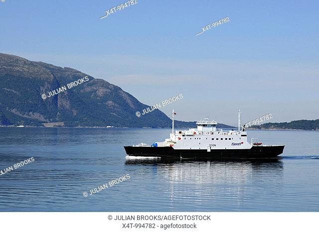 Norwegian Ferry on a fjord travelling to Molde