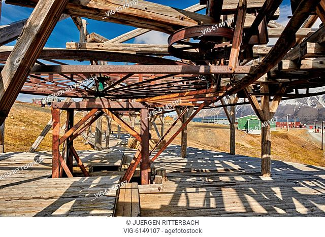 old construction of a cable car for coal mining in Longyearbyen, Svalbard or Spitsbergen, Europe - Longyearbyen, Svalbard, 18/06/2018