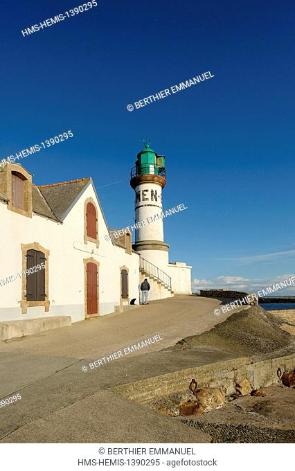 France, Finistere, Ile de Sein, the lighthouse of Men Brial and the Paimpol dock, island integrated in the islands of the Ponant