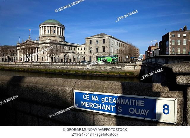 Four Courts designed by James Gandon in 1786 and restored after Irish Civil war, Dublin City, Ireland
