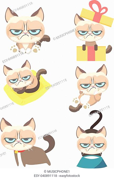 Funny vector set of grumpy cat on white background