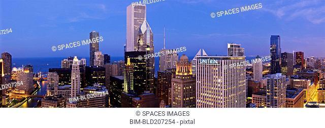 Chicago Skyline Looking Towards Lake Michigan