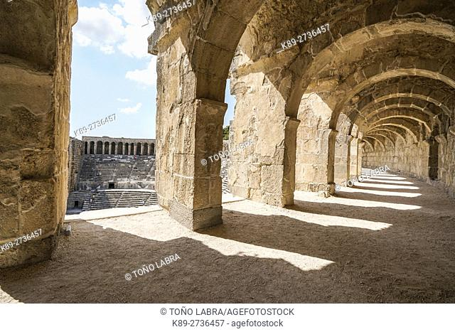 Aspendos amphitheater tunnel. Ancient Greece. Asia Minor. Turkey