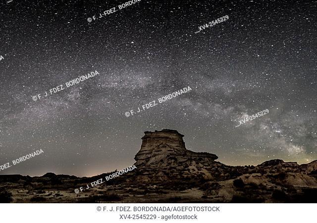 Milky way over Monegros desert. Huesca, Aragon, Spain