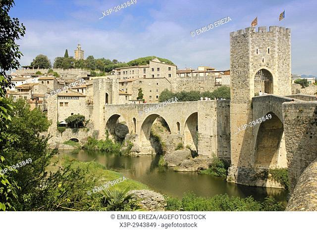 Medieval architecture in Besalú, Girona, Catalonia, Spain