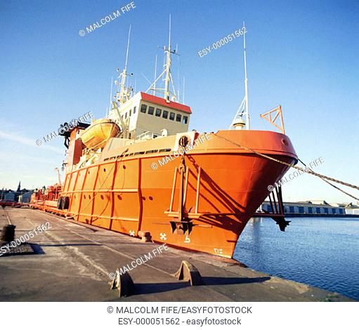 Offshore oil industry supply ship, Leith docks, Edinburgh. Scotland