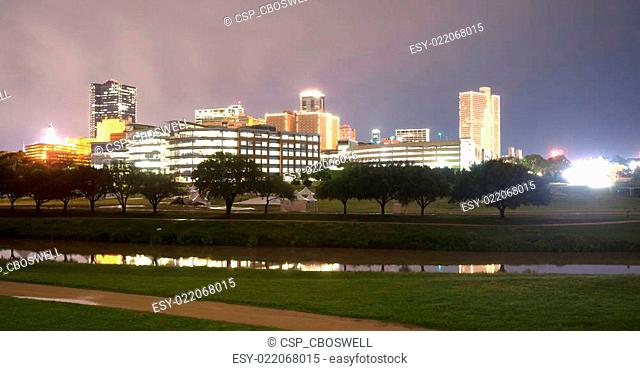 Fort Worth Texas Downtown Skyline Trinity River Late Night