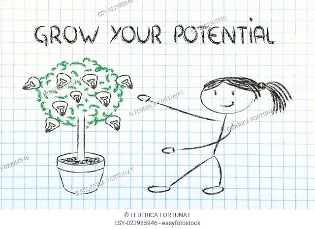 person cultivating potential, talent, ideas