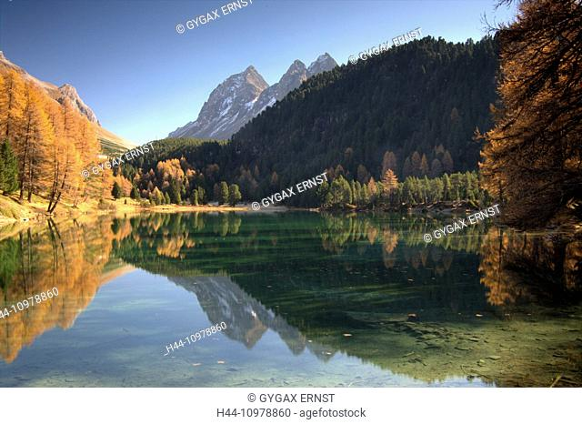 Switzerland, Europe, Graubünden, Grisons, Alps, Albula, Landscape, Mountain, pass, autumn, lake Palpuognasee, lake, reflection