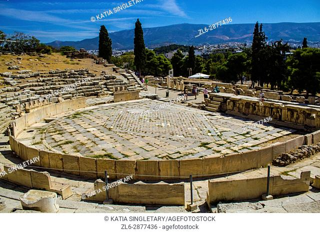 Theater of Dionysus Eleuthereus in Acropolis of Athens, Greece. The Theatre of Dionysus Eleuthereus is a major theatre in Athens