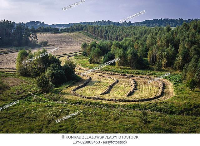 Landscape in Koscierzyna commune, Kashubia region of Pomeranian Voivodeship in Poland