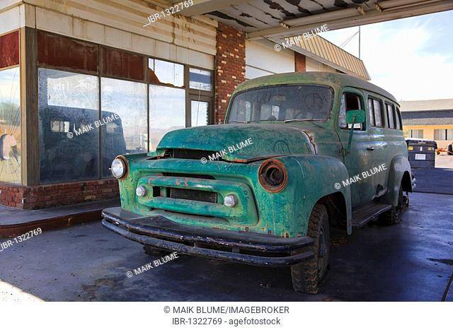 Cannibalized vehicle at an abandoned gas station on the historic Route 66, Ludlow, California, USA, North America