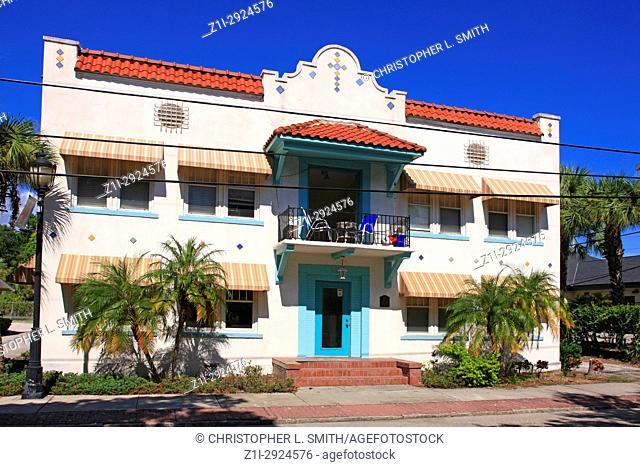 Traditional Hispanic Floridian architecture in old Bradenton FL, USA