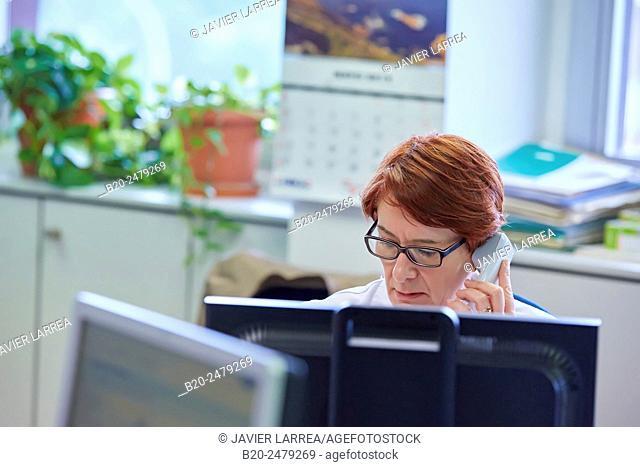 Administrative in office, Human Resources Department, Hospital Donostia, San Sebastian, Gipuzkoa, Basque Country, Spain