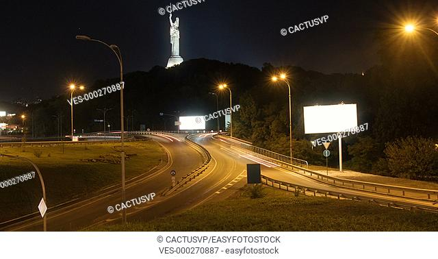Modern city traffic at night timelapse