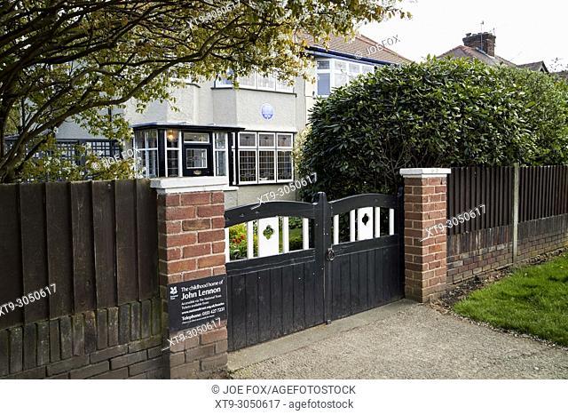 John Lennons childhood home mednips 251 melove avenue liverpool merseyside england uk