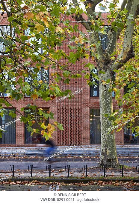 Autumn leaves and entrance facade. Newnham College, Cambridge, Cambridge, United Kingdom. Architect: Walters and Cohen Ltd, 2018