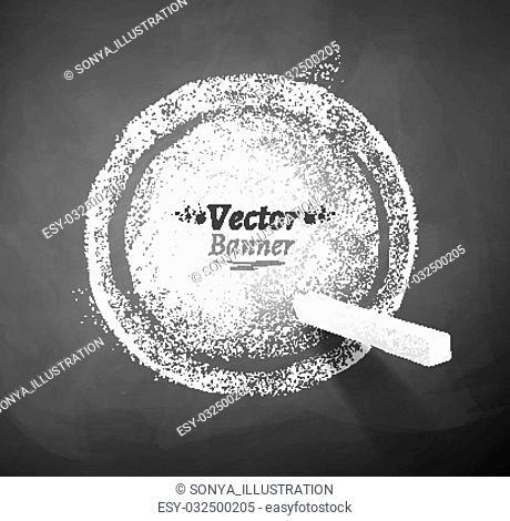 Vector illustration of chalked round banner