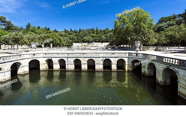 The garden jardin de la Fontaine in Nimes. Gard, Provence, France, Europe