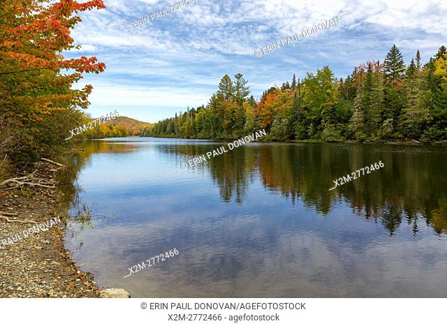 Androscoggin River, within Thirteen Mile Woods, along Route 16, in Errol, New Hampshire USA during the autumn months