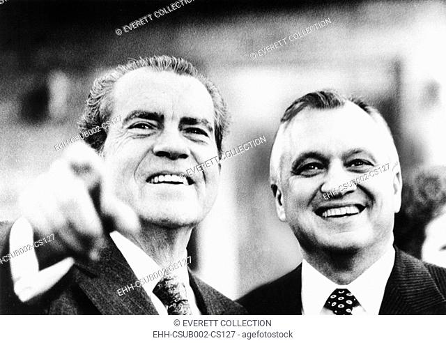 Putting differences aside, Walter Hinkle welcomes President Richard Nixon to his Anchorage home. Sept. 26, 1971. Nixon was enroute to Japan to meet with Emperor...
