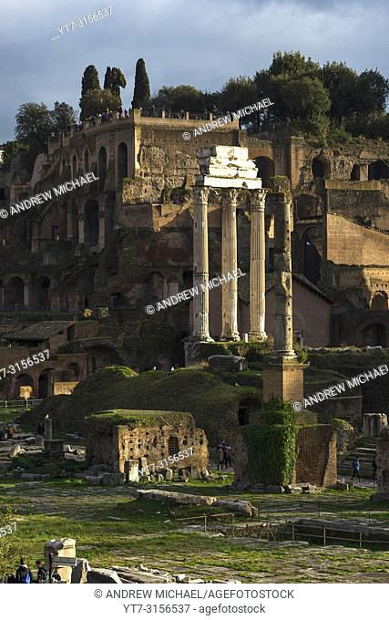 Roman Forum ruins seen from Capitoline Hill. Rome. Lazio. Italy