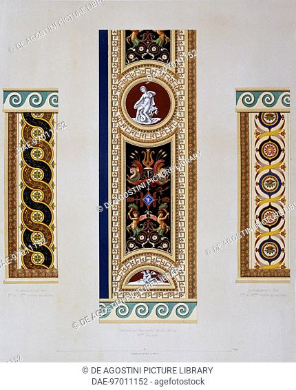 Decoration of the gallery on the second floor known as Raphael Loggia: decoration of the piers of the fourth arch (centre); decoration of the lower sections of...